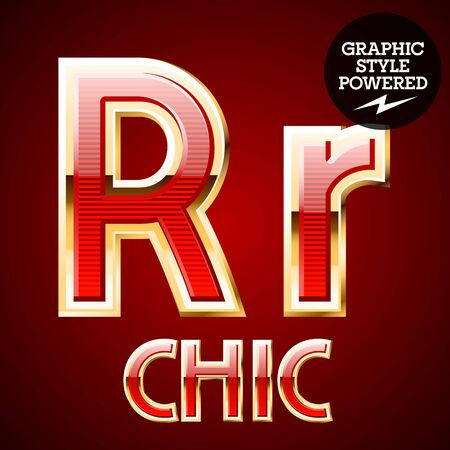 Red alphabet with golden border. Letter R Illustration