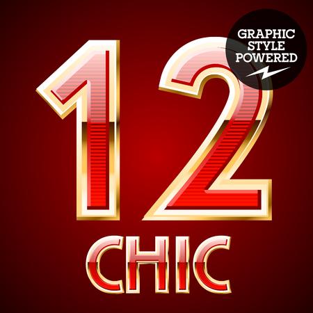 number 12: Red alphabet with golden border. Number 12 Illustration