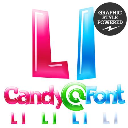 l: Childrens candy font. Set of Letter L