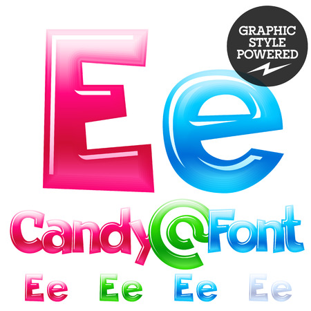 e alphabet: Childrens candy font. Set of Letter E