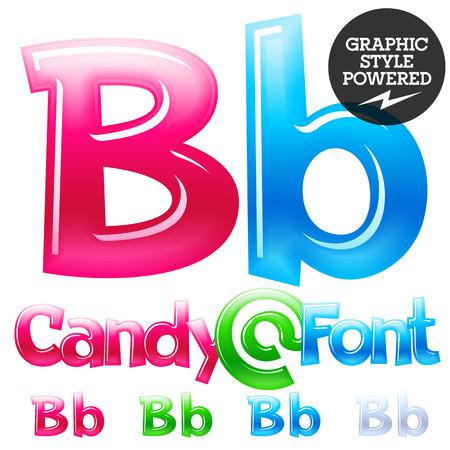Children's candy font. Set of Letter B