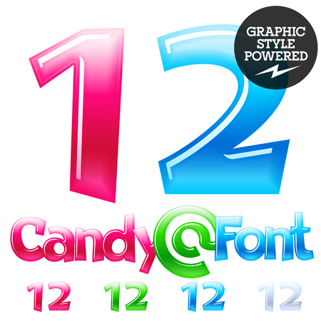 Children's candy font. Set of Numbers 12