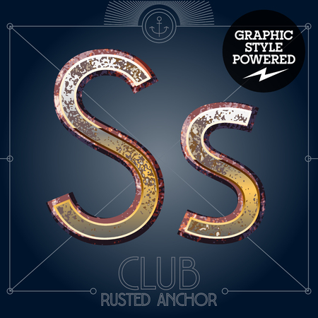 Vector font set of rusted letters. Old school vintage yacht club. Letter S  イラスト・ベクター素材