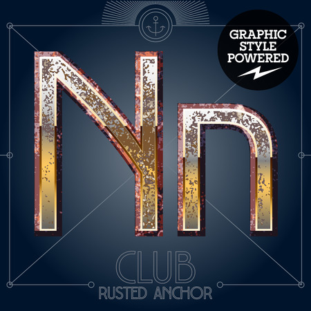 Vector font set of rusted letters. Old school vintage yacht club. Letter N  イラスト・ベクター素材