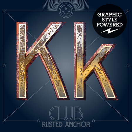 Vector font set of rusted letters. Old school vintage yacht club. Letter K  イラスト・ベクター素材