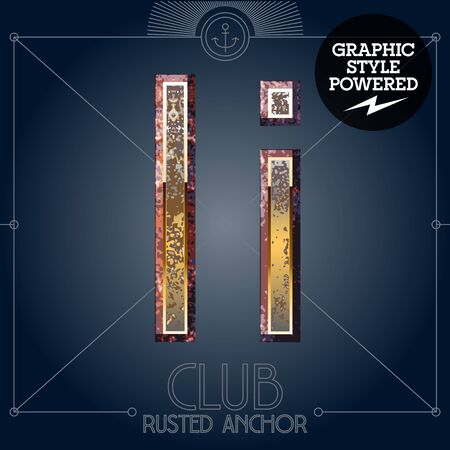 Vector font set of rusted letters. Old school vintage yacht club. Letter I  イラスト・ベクター素材