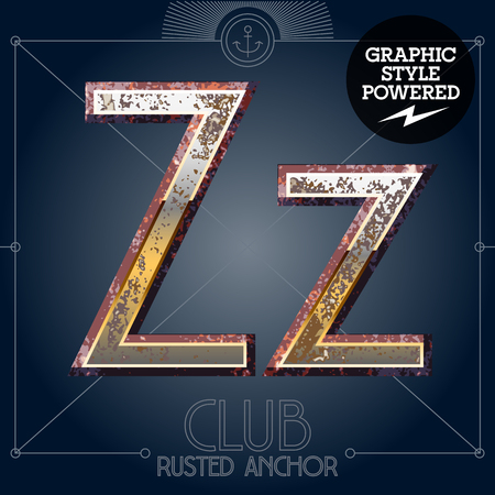 Vector font set of rusted letters. Old school vintage yacht club. Letter Z