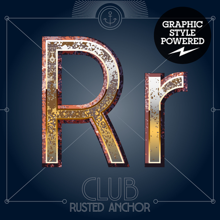 rusted: Vector font set of rusted letters. Old school vintage yacht club. Letter R