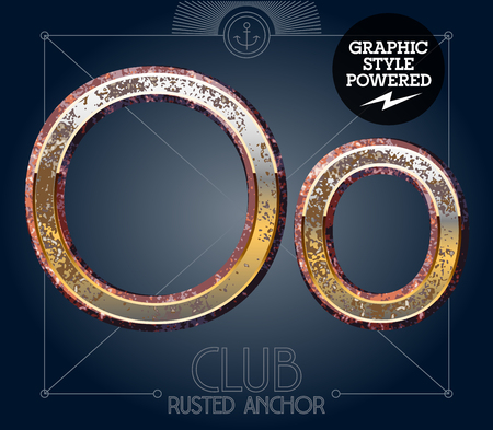 iron: Vector font set of rusted letters. Old school vintage yacht club. Letter O