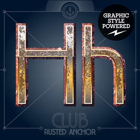 Vector font set of rusted letters. Old school vintage yacht club. Letter H