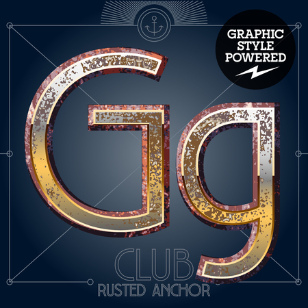Vector font set of rusted letters. Old school vintage yacht club. Letter G