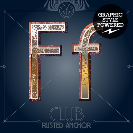 Vector font set of rusted letters. Old school vintage yacht club. Letter F