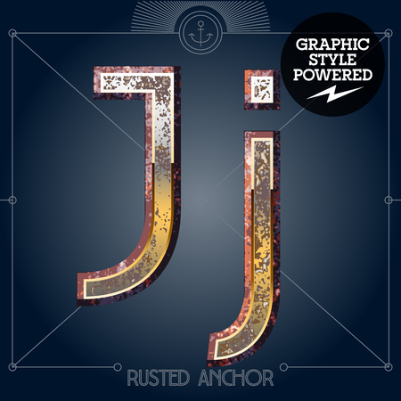 Vector font set of rusted letters. Old school vintage yacht club. Letter J
