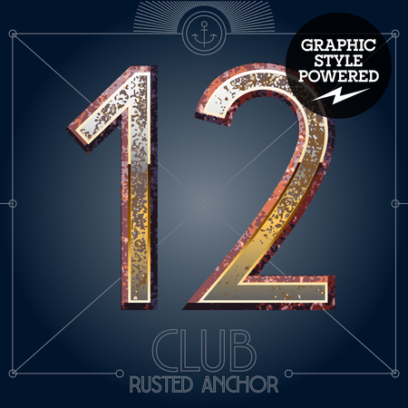 rusted: Vector font set of rusted letters. Old school vintage yacht club. Numbers 1 2