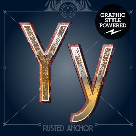 rusty: Vector font set of rusted letters. Old school vintage yacht club. Letter Y
