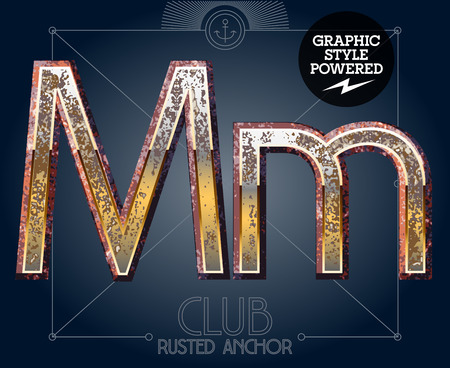 Vector font set of rusted letters. Old school vintage yacht club. Letter M