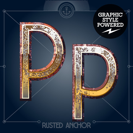 Vector font set of rusted letters. Old school vintage yacht club. Letter P  イラスト・ベクター素材