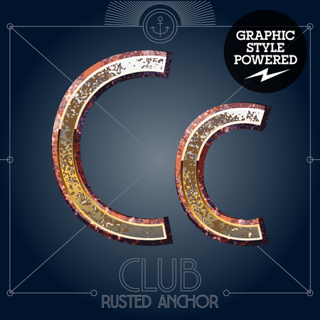 corrosion: Vector font set of rusted letters. Old school vintage yacht club. Letter C