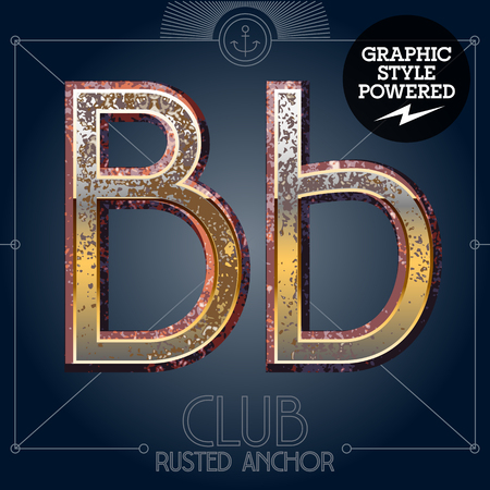 Vector font set of rusted letters. Old school vintage yacht club. Letter B  イラスト・ベクター素材