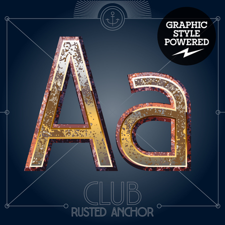 Vector font set of rusted letters. Old school vintage yacht club. Letter A