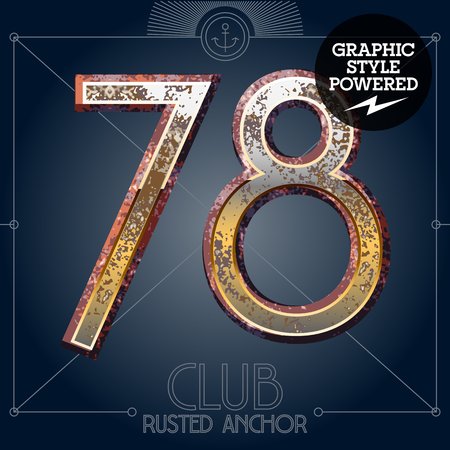 Vector font set of rusted letters. Old school vintage yacht club. Numbers 7 8