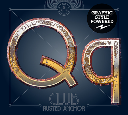 Vector font set of rusted letters. Old school vintage yacht club. Letter Q