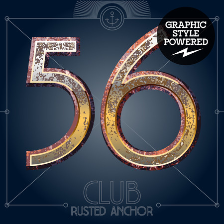 Vector font set of rusted letters. Old school vintage yacht club. Numbers 5 6