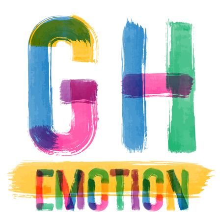 vector set: Vector set of colorful brush font. Hand-drawn brush alphabet. Letters G H
