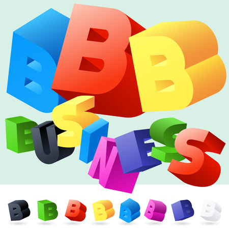 randomly: Vector 3D font of randomly rotated colourful letters. All letters in alphabet have 8 random points of view. Letter B