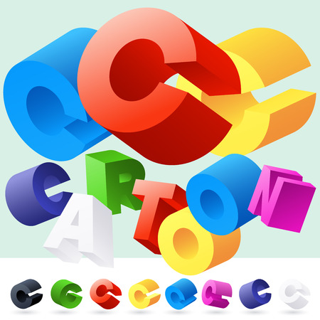 randomly: Vector 3D font of randomly rotated colourful letters. All letters in alphabet have 8 random points of view. Letter C