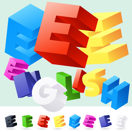 rotated: Vector 3D font of randomly rotated colourful letters. All letters in alphabet have 8 random points of view. Letter E