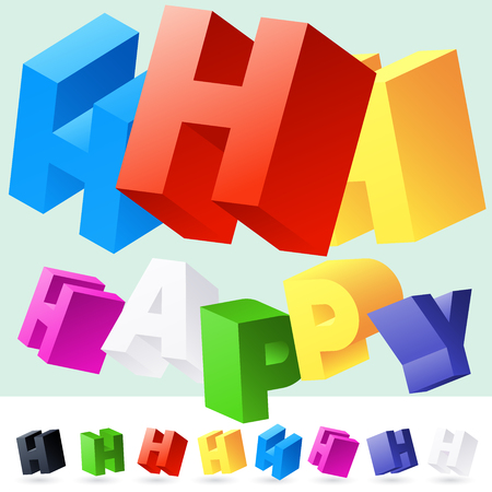 randomly: Vector 3D font of randomly rotated colourful letters. All letters in alphabet have 8 random points of view. Letter H Illustration