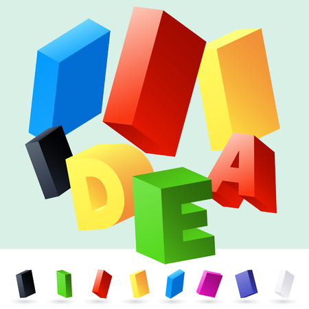 randomly: Vector 3D font of randomly rotated colourful letters. All letters in alphabet have 8 random points of view. Letter I