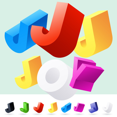 Vector 3D font of randomly rotated colourful letters. All letters in alphabet have 8 random points of view. Letter J Illusztráció