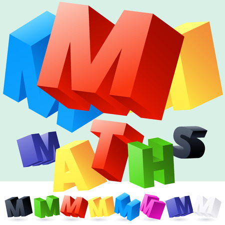 Vector 3D font of randomly rotated colourful letters. All letters in alphabet have 8 random points of view. Letter M