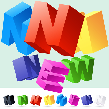 randomly: Vector 3D font of randomly rotated colourful letters. All letters in alphabet have 8 random points of view. Letter N