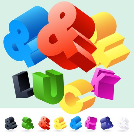 randomly: Vector 3D font of randomly rotated colourful letters. All letters in alphabet have 8 random points of view. Symbols