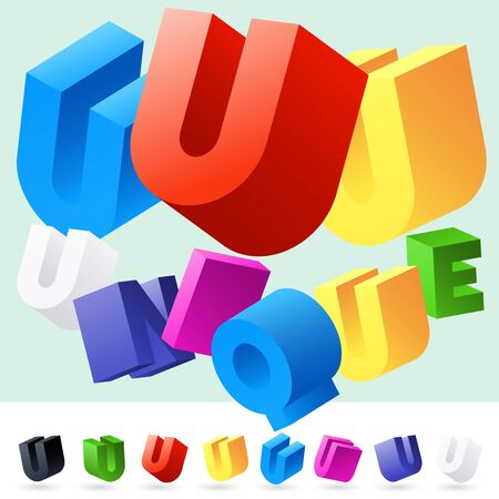randomly: Vector 3D font of randomly rotated colourful letters. All letters in alphabet have 8 random points of view. Letter U