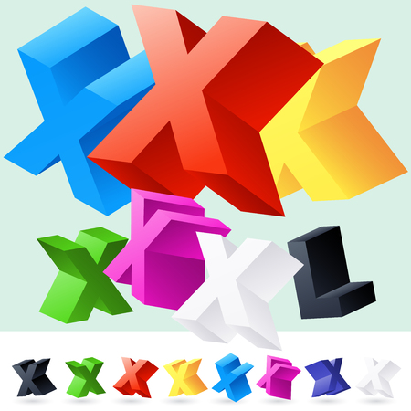 randomly: Vector 3D font of randomly rotated colourful letters. All letters in alphabet have 8 random points of view. Letter X