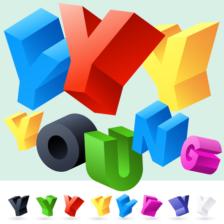 rotated: Vector 3D font of randomly rotated colourful letters. All letters in alphabet have 8 random points of view. Letter Y