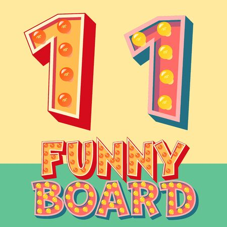 number of people: Bright funny comic vector lamp alphabet. Number 1