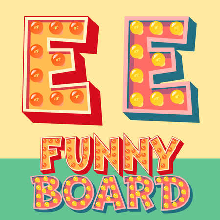Bright funny comic vector lamp alphabet. Letter E