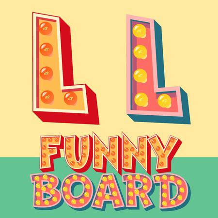 Bright funny comic vector lamp alphabet. Letter L