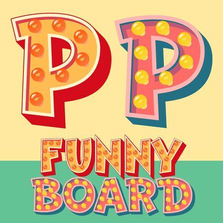 Heldere grappige komische vector lamp alfabet. letter P