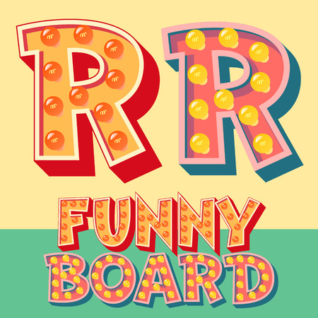 Bright funny comic vector lamp alphabet. Letter R