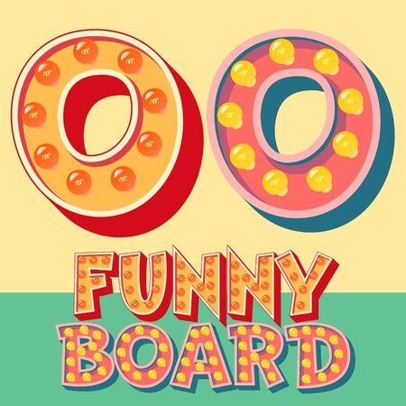 Bright funny comic vector lamp alphabet. Letter O