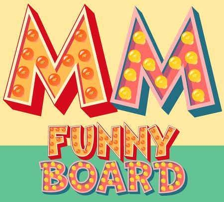 Heldere grappige komische vector lamp alfabet. letter M