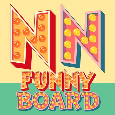 show: Bright funny comic vector lamp alphabet. Letter N