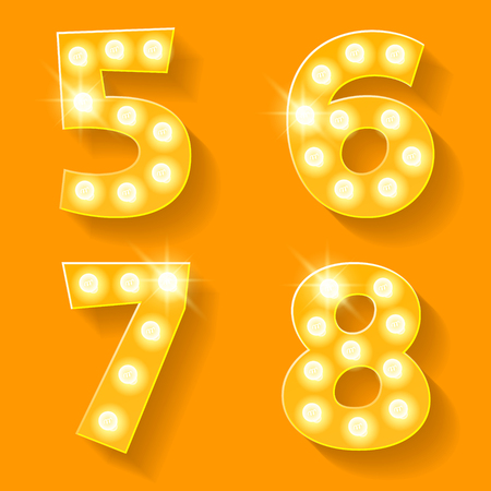 7 8: Vector yellow lamp alphabet for theatre, cinema and other entertainment. Numbers 5 6 7 8 Illustration