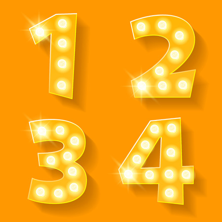 yellow lamp: Vector yellow lamp alphabet for theatre, cinema and other entertainment. Numbers 1 2 3 4